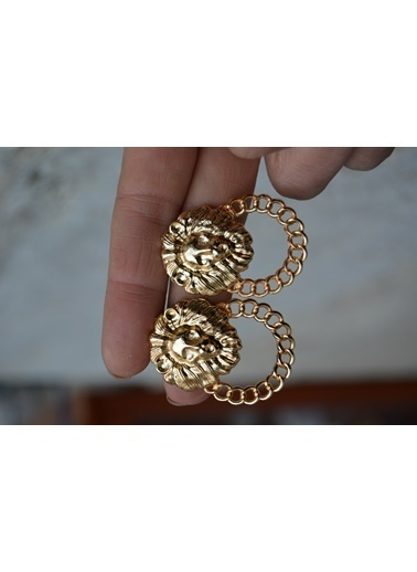 Stoneage Altın Kaplama Aslan ve Zincir Figür Küpe Altın